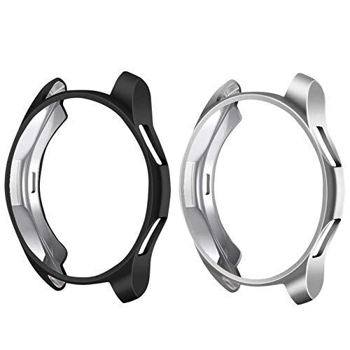 CAVN Schutzhülle Kompatibel mit Samsung Galaxy Watch 46mm / Gear S3 [2 Stück], Soft TPU Kratzfest Schutzhülle Schale Hülle für Gear S3 Frontier/Classic/Galaxy Watch 46mm, Schwarz + Silber
