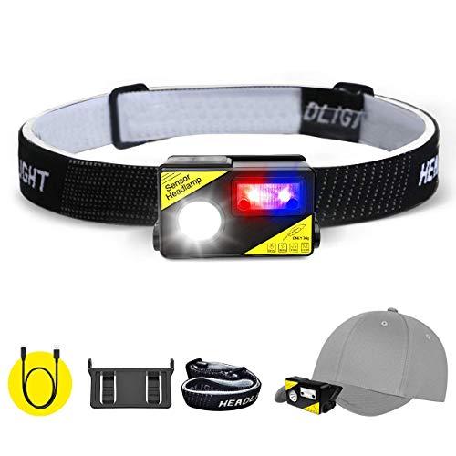SGODDE USB Wiederaufladbare LED Stirnlampe,LED Clip on Cap,Super helle 5 Modi Kopflampe,COB LED Kopflicht IPX65 WasserdichtLeichtgewichts Mini Kopfleuchte,mit Geste Sensor für Laufen,Joggen,Angeln