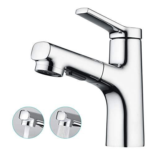 CREA Waschtischarmatur Bad mit Brause ausziehhar, Badarmatur Einhebelmischer Armatur Wasserhahn für Badezimmer Waschbecken, Messing verchromt poliert