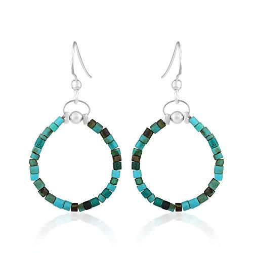 Pendientes de aro turquesa y plata, pendientes bohemios, pendientes de cuentas hippie, pendientes de turquesa, pendientes de plata turquesa