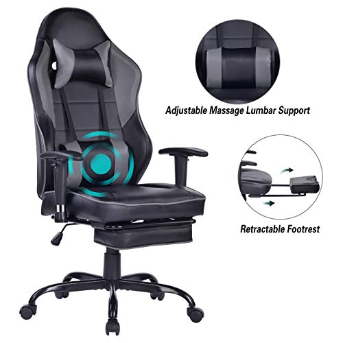 Blue Whale Massage Gaming Chair - Big and Tall 350lbs High Back Racing Computer Desk Office Chair Swivel Ergonomic Executive...