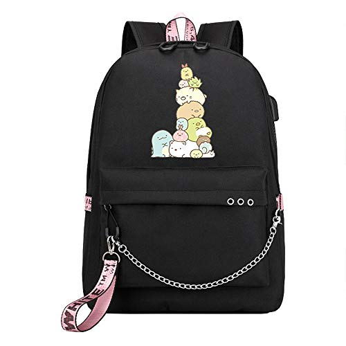 Sumikkogurashi Casual Backpack Printed Daypack with USB Charging Port School Backpack with Chain Decorative Backpack for Women and Men (Color : A39, Size : 32 X 15 X 45cm)