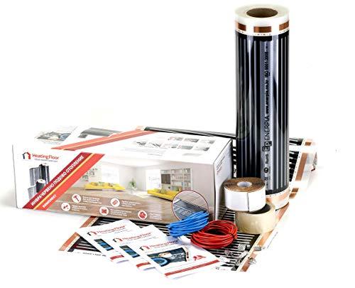 Heizboden 3-25 m2 Fußbodenheizung Folie 220 W/m2 Breite 100 cm, Kit für Laminat und Holz, 230.00V