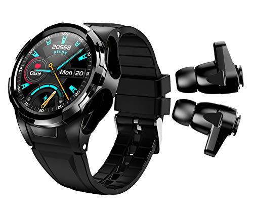 BELESH Reloj inteligente Bluetooth Auriculares inalámbricos 2 en 1 Pulsera de actividad física rastreador de actividad física, ritmo cardíaco, termóme