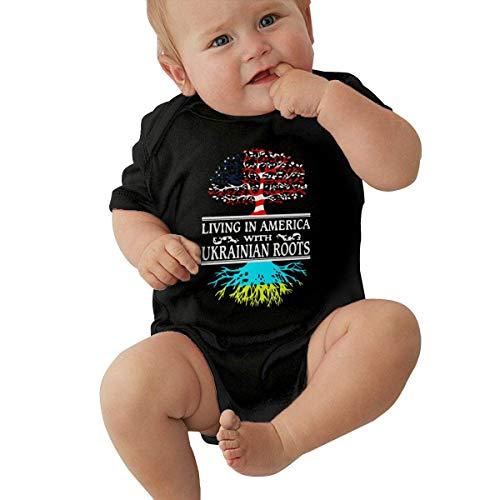 90ioup Leben in Amerika Ukrainian Roots Baby Kurzarm Neugeborenen Mädchen Krabbelanzug Strampler Bodysuit