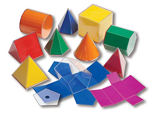 Learning Advantage Folding 3D GeoFigures - Set of 11 Multicolored Shapes - Includes 2D Nets and Activity Guide - Early Math Manipulative and Geometry for Kids, 10 Centimeters