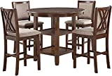 New Classic Furniture Amy 5-Piece Counter Dining Set with 1 Table and 4 Chairs, Cherry