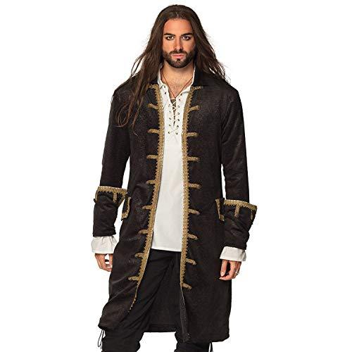 Boland 74177 – Chaqueta pirata para hombre, color negro y dorado, abrigo para hombres, piratas de mar, disfraz de carnaval, fiesta temática