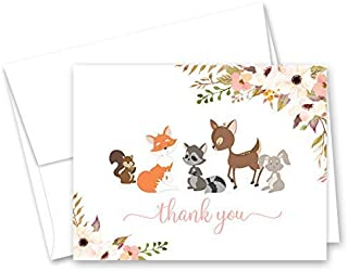 Forest Woodland Animals Baby Shower Thank You Cards - Set of 50 (Pink, Brown)