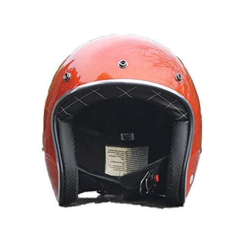 SXC Halbschale Jet-Helm Motorrad-Helm Roller-Helm Retro Motorrad-Helm Scooter-Helm Chopper Mofa Roller Retro ECE/DOT-Zertifizierung (53-60cm)