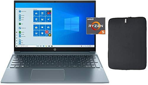 2020 HP Pavilion 15.6' FHD IPS Micro-Edge Premium Laptop, AMD Ryzen 5 4500U 6-core Upto 4.0 GHz, 32GB RAM, 1TB PCIe SSD, WiFi 6.0, HDMI, Windows 10 Home + Woov Laptop Sleeve Bundle, Blue