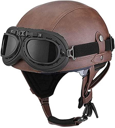 WSSCKT Casco unisex para adultos, para motocicleta, para hombre y mujer, de piel abierta, con gafas para ATV Cruiser Chopper Jet Scooter ciclomotor aprobado por DOT (color: A, tamaño: pequeño)