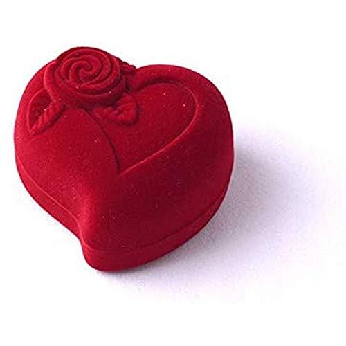 Ikpdbw Jewelry Storage Box, Red Heartshaped Velvet Ring Box, Engagement Wedding Jewelry Box, Rose Flower Design Gift Box Stand