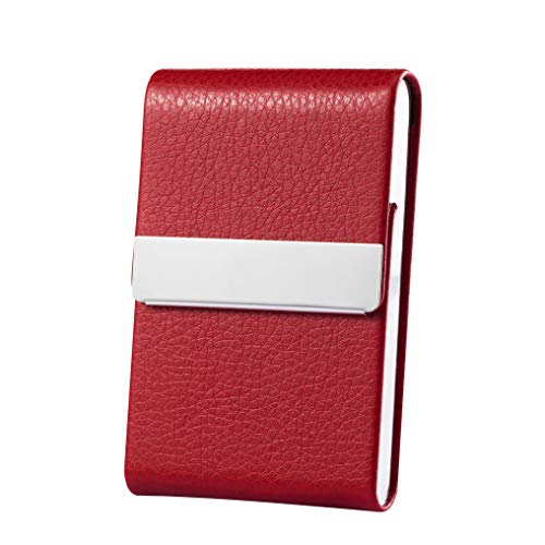Business Card Holder Case Professional Luxury PU Leather & Stainless Steel Metal Name Card Holder Credit Card ID Wallet for Men & Women with Magnetic Shut (Red)