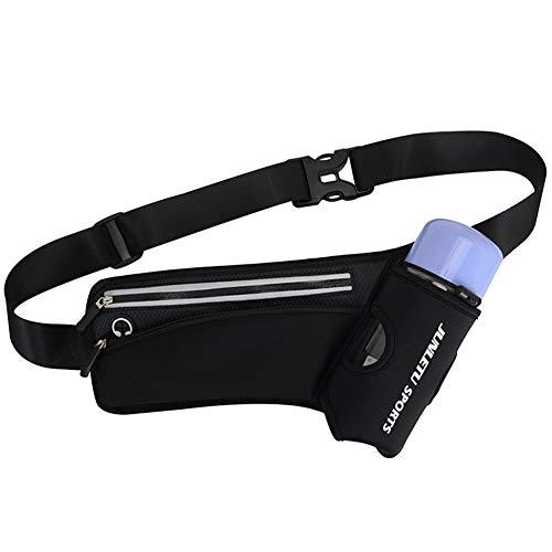 JPYH Marsupio da Corsa, Cintura con Porta Bottiglia d'Acqua, Marsupio Sportivo Cintura da Corsa Running Impermeabile con Cintura Regolabile(Nero)