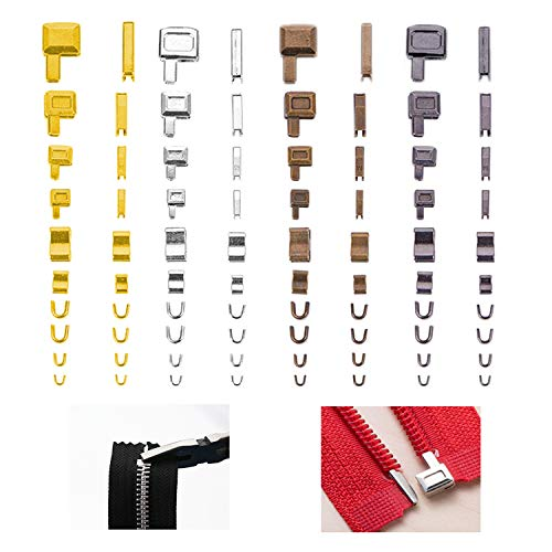 Kare & Kind Zipper Repair Kit - 4 Sizes and 4 Colors - 16 Sets of Zipper Boxes and Insertion Pins, 16 Pairs Zipper Top Stop, 16 Pcs Zipper Bottom Stop - Sizes 3/ 5/ 8/ 10 - Repair, Replacement, Sewing