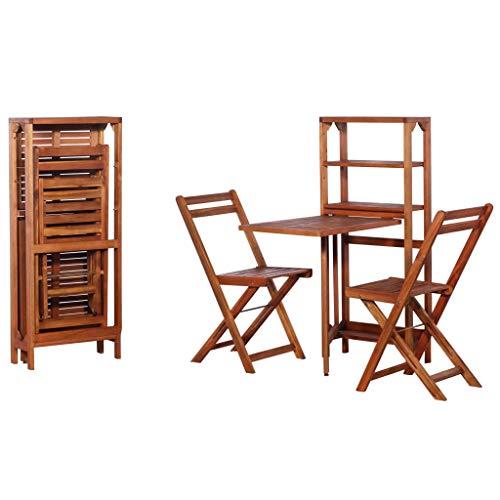 Festnight Conjunto de Muebles de Jardín de Madera Incluye 1 Estante de Almacenamiento y 2 Sillas Plegables
