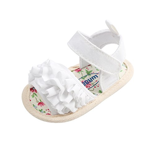 Kuner Baby Girls Cotton Bowknot Rubber Sole Non-Slip Outdoor Toddler Summer Sandals First Walkers Shoes (12cm(6-12months), White Flowers)