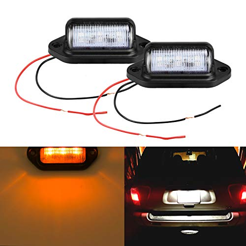 LivTee Waterproof 12V LED Tag License Plate Lamp Light for Truck SUV Trailer Van, Step Courtesy Lights, Dome Cargo Lights or Under Hood Light, Amber Yellow(2-Pieces)