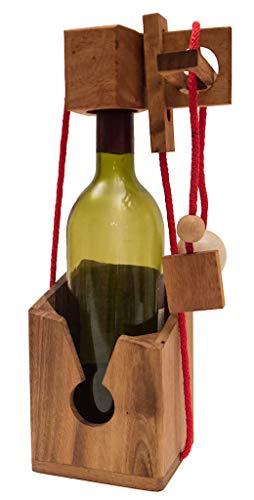 ROMBOL Flaschentresor - Edler Tresor aus Holz für Weinflaschen, Denk- und Knobelspiel , Modell:1