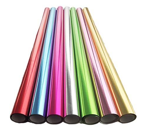 Edel Premium Metallic Glänzendes Geschenkpapier Verpackung für Geschenk Geburtstag Hochzeit Geschenkpapier Geschenkverpackung 7 Rollen Set in Grün Pink Rosa Blaue Goldene Silberne Rolle je 70 cm x 2 m
