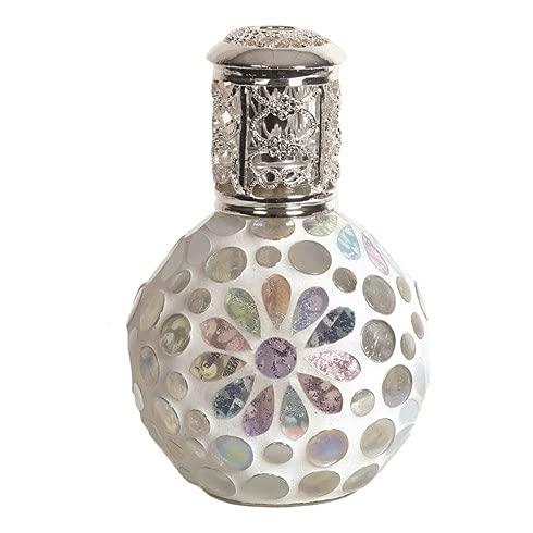 Lámpara de fragancia de mosaico floral de brillo blanco crema