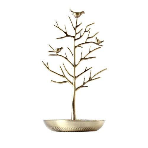 OULII puerta joyas árbol–Expositor de joyas collar hebilla pendientes Pulsera Antigua sede (Cyan)