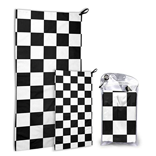 Lsjuee Checkerboard Microfiber Travel & Sports Towel Set - Quick Dry, Compact, Lightweight - Includes 2 Sizes