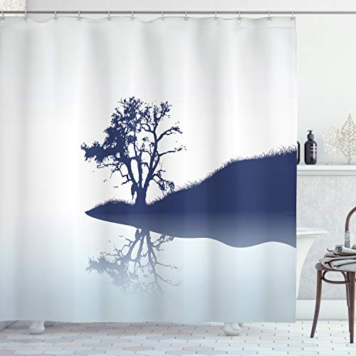 Ambesonne Nature Shower Curtain, Silhouette of Lonely Tree by Lake with Mirror Effects Melancholy Illustration, Fabric Bathroom Decor Set with Hooks, 75 Inches Long, Indigo Baby Blue