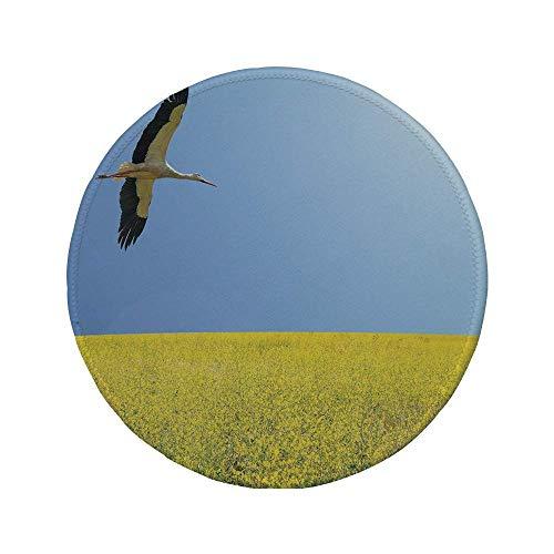 Rutschfreies Gummi-Rundmaus-Pad gelb und blau allein Storch fliegt in klarem Himmel über Frühling Blütenfeld Freiheit Bild mehrfarbig 7.9
