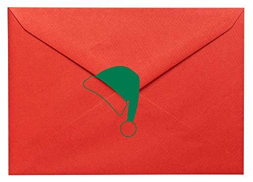 20 x Weihnachtsmütze geformte Vinylaufkleber. Haus, Möbel, Fenster, Spiegel, Laptop, Autodekor. Basteln, Scrapbooking, Karten machen.