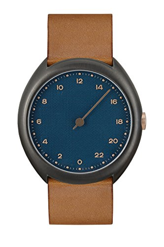 slow O 15 - Swiss Made one-hand 24 hour watch - Anthracite with brown leather band