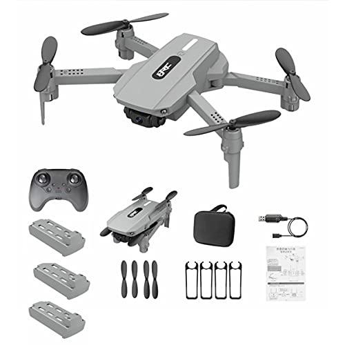 HYZHYZ Mini Drone Doppia Fotocamera per Adulti, frogatore WiFi con Fotocamera HD 4K, Quadcopter RC con Flip a 360 °, Gesto Foto/Video, modalità Senza Testa,Grigio,3 Battery PCS