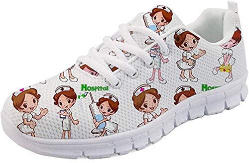 Nopersonality Damen Herren Sportschuhe Laufschuhe Bequem Turnschuhe Sneakers Gym Fitness Leichte Schuhe Cartoon Krankenschwester Nurse Running Walking Low Top Shoes Outdoor Größe 41