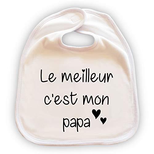Grand bavoir pour bébé personnalisé - Cadeau original fête des pères - Cadeau papa -'Le meilleur c'est mon papa'