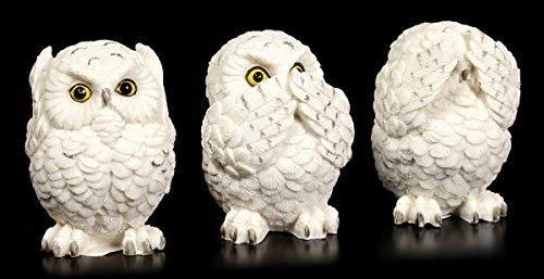 DREI weise Schnee-Eulen Figuren | Nichts Böses sehen, hören, Sagen | Lustige Deko