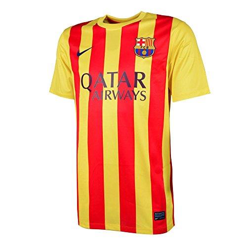 Nike Herren Fan-Trikot FC Barcelona Short Sleeve Away Stadium Jersey 2013/2014, Gelb/Rot, L
