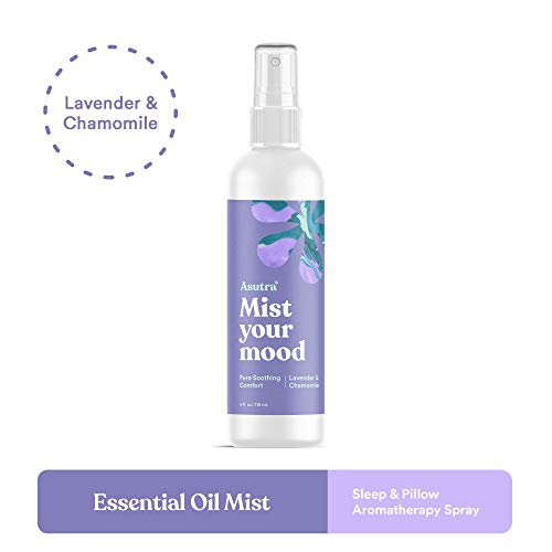 ASUTRA Lavender & Chamomile Organic Essential Oil Blend, Aromatherapy Mist, 4 fl oz | for Face, Body, Rooms, Linens | Helps Relax Mind & Body to Sleep | Pure Soothing Comfort