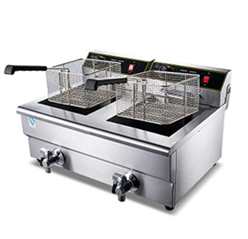26L elektrische Fritteuse, Multifunktionsfritteuse, gewerbliche Friteuse, Fritteuse mit großer Kapazität, elektrische Doppelzylinderfritteuse Anwendbar für verschiedene Kochmethoden wie Fast-Food-Rest