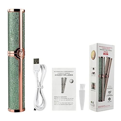 CandyT Maquinilla de Afeitar de Cejas y depiladora indolora, Recortadora de Cejas eléctrica, depiladora de Cejas indolora para Mujeres con luz LED (Verde Oscuro 14 * 3 * 3 cm)