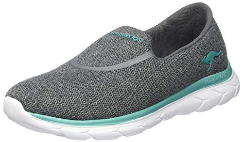 KangaROOS Damen KN-Slip Flacher Slipper, Steel Grey/Turquoise 2106, 39 EU