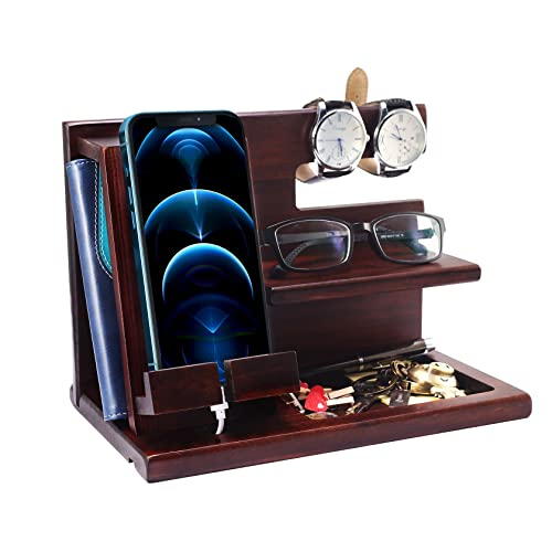 Foonii Gifts for Men Wood Phone Docking Station,Nightstand Organizer Desk Accessories,Key Holder Watch Organizer,Gift for Dad Birthday,Mens Gift in Anniversary Christmas Easter Halloween,Brown