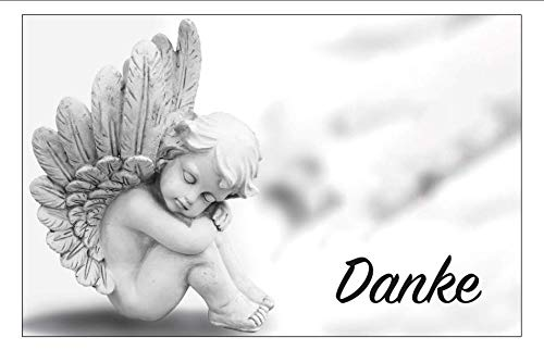 30 Danksagung Premium-Trauerkarten Klappkarten mit 30 Umschlägen im Set - Motiv: Engel - Danke nach Trauer, Beerdigung, Sterbefall, Friedhof, Begräbnis, Verabschiedung