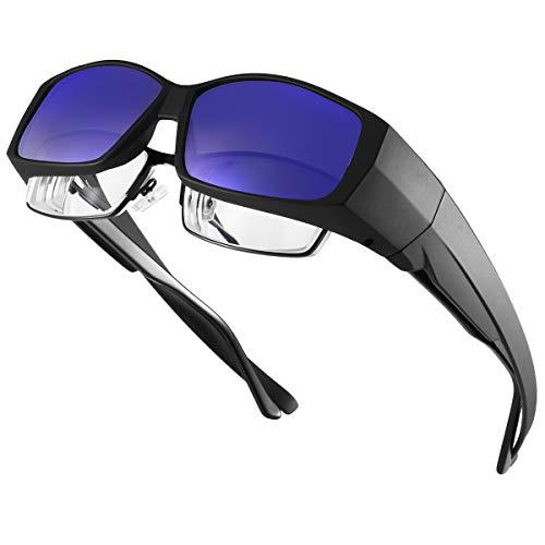 ARay オーバーサングラス メンズ UV400 紫外線カット 偏光レンズ メガネの上から掛け 偏光サングラス スポーツサングラス レディース ドライブ/自転車/釣り/野球/テニス/スキー/ランニング/ゴルフ (ブラック, ブルー)