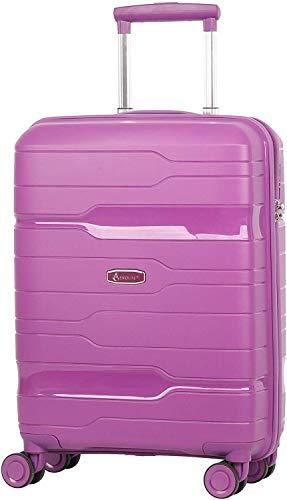 Aerolite Premium Hand Luggage Cabin Bag Hard Shell 8 Wheel Carry On Suitcase with Built in 3 Digit TSA Combination Lock, Purple