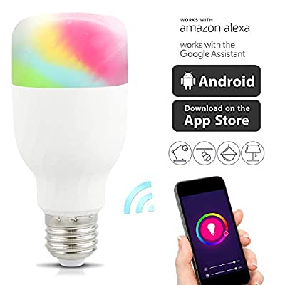 Wifi Smart LED Light Bulb Compatible with Alexa No Hub Required, LinkStyle E27 Smart Wifi Bulb RGB Multi Color Dimmable Daylight Night Light Timer App Control for iPhone iPad Samsung Galaxy LG HTC