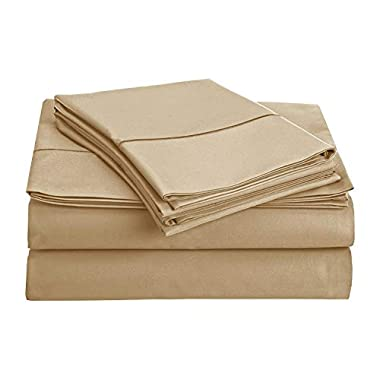 CHATEAU HOME COLLECTION 800-Thread-Count Egyptian Cotton Deep Pocket Sateen Weave Sheet Set (Queen, Linen)