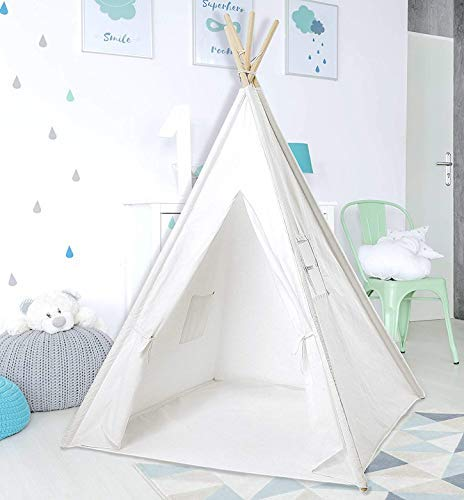 Teepee Tent for Kids | Kids Teepee | Kids Teepee Play Tent Foldable 5 Feet Tall 4 Poles | Playhouse for Kids | Large Childrens Teepee Tents Girls Boys Kids Teepee Tent | Wooden Poles | Floor Included