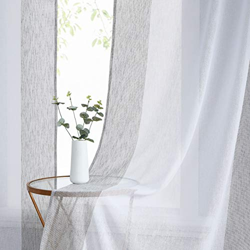 WEST LAKE Sheer Linen Curtain Color Block Window Treatment for Bedroom, Balcony, Living Room, Rod Pocket Design, 40 x 95 inch, 2 Panels, Gray and White