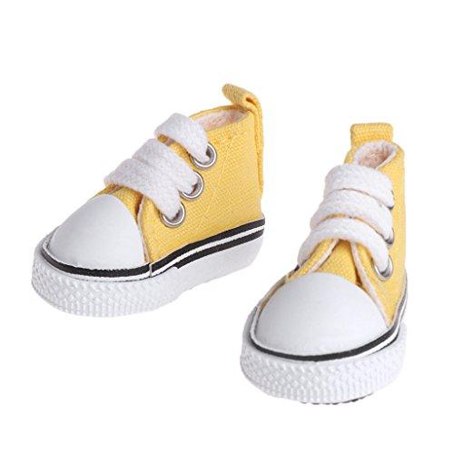 Fuwahahah 5cm Poppenschoenen Accessoires Canvas Mode Zomer Speelgoed Mini Sneakers Denim Laarzen Geel